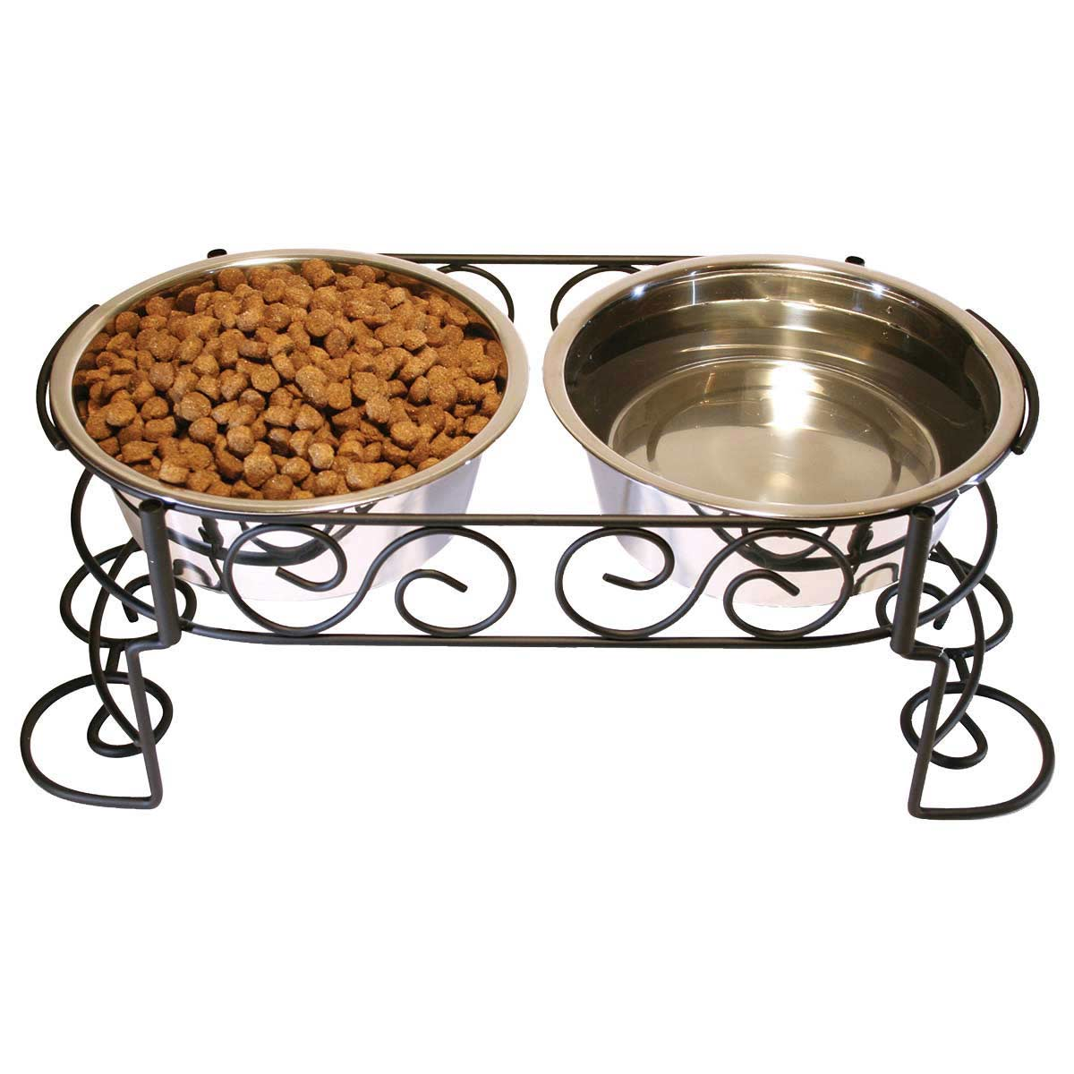 Ethical Mediterranean Old World Stainless Steel Double Diner for Dogs 1 Pint