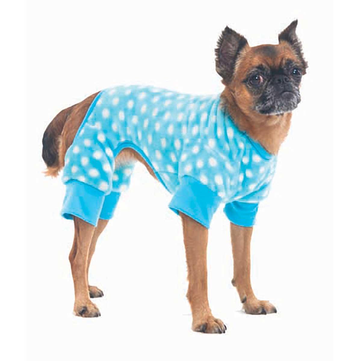 Blue Cozy Fleece Sleeper Dog Onesie - Sizes X Small - Medium
