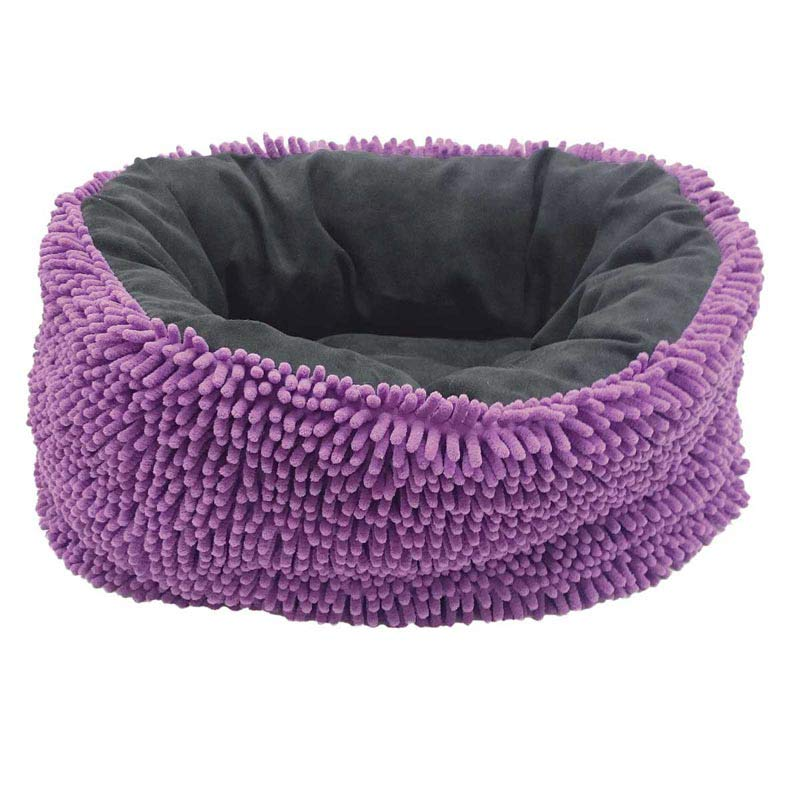 31 inch Purple and Grey Sleep Zone Reversible Chenille Infinity Bed for Cats and Dogs