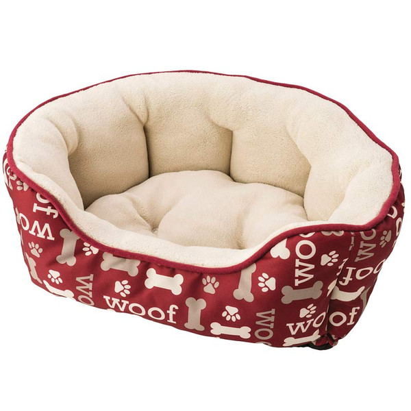 24 inch Sleep Zone Scallop Step In Pet Bed Burgundy Woof Design