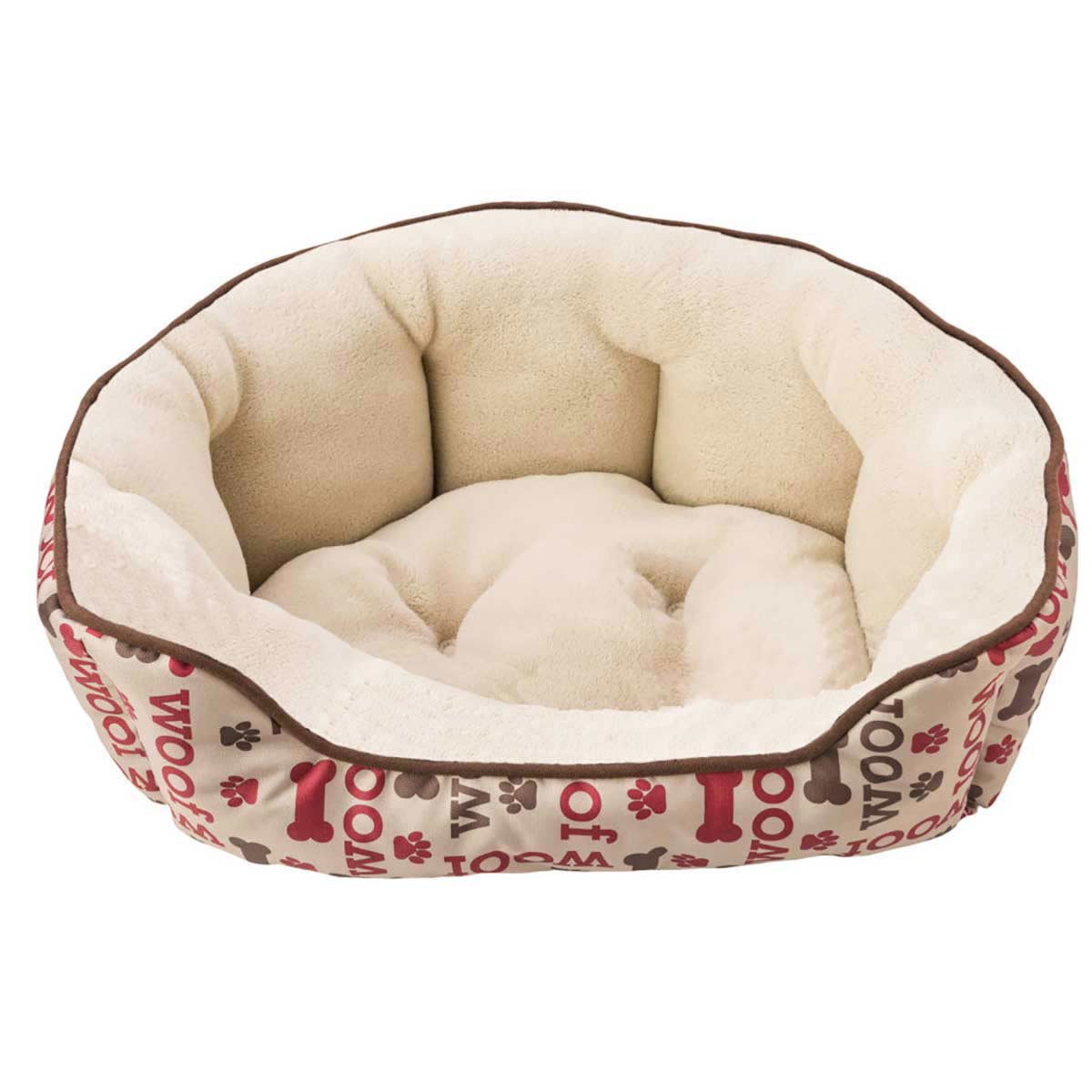 31 inch Taupe and Brown Woof Sleep Zone Scallop Step In Pet Bed at Ryan's Pet Supplies
