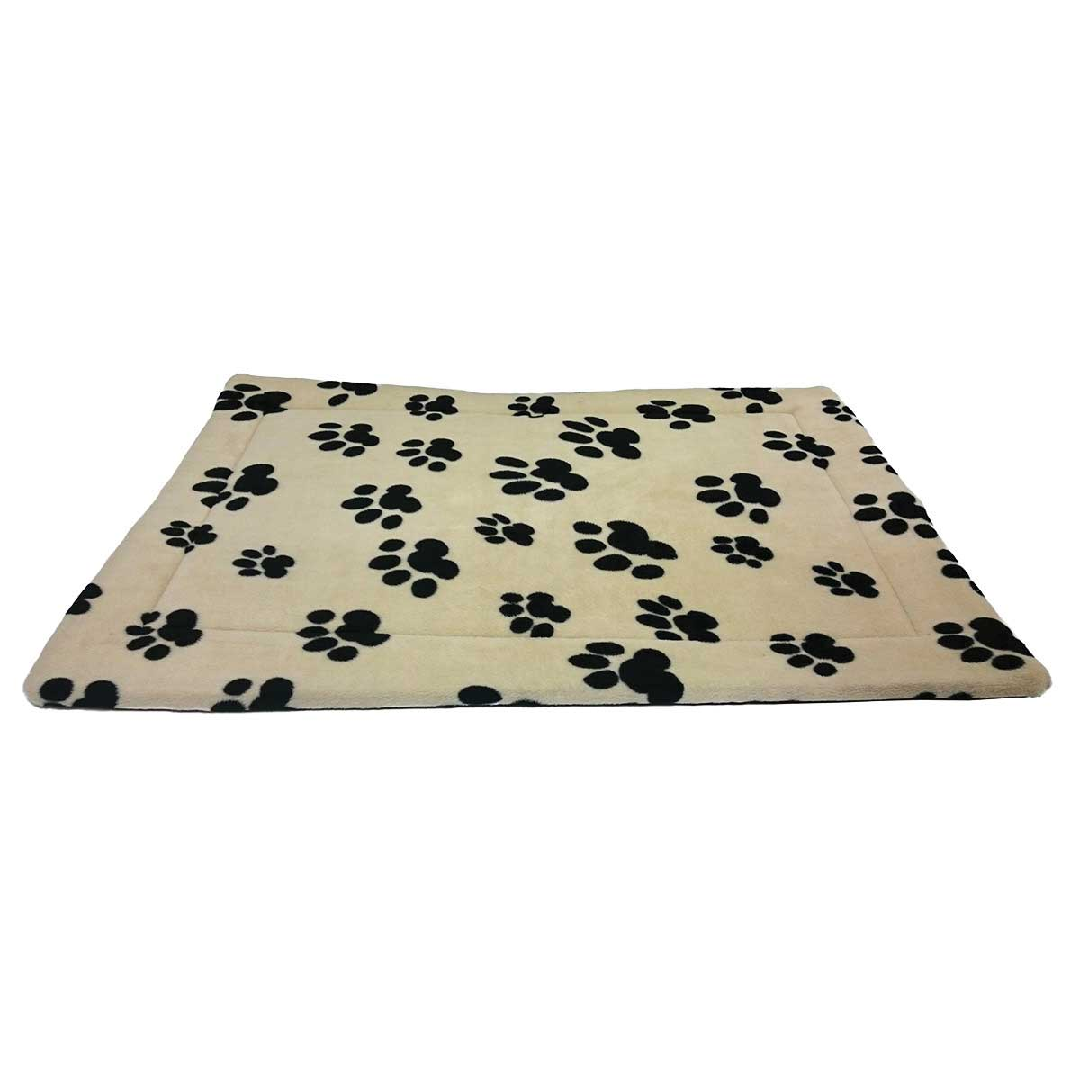 51 inch by 33 inch Taupe Tan Thermo Pet Mat with Black Paw Print Design