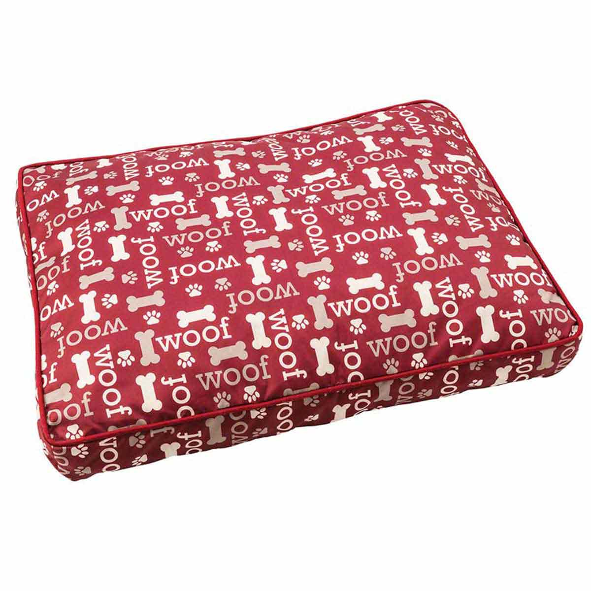 Burgundy Woof Design Sleep Zone Pillow Pet Bed - 29 inches at Ryan's Pet Supplies