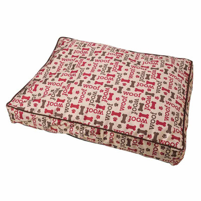 Taupe Sleep Zone Pillow Pet Bed with Woof Design - 29 inch