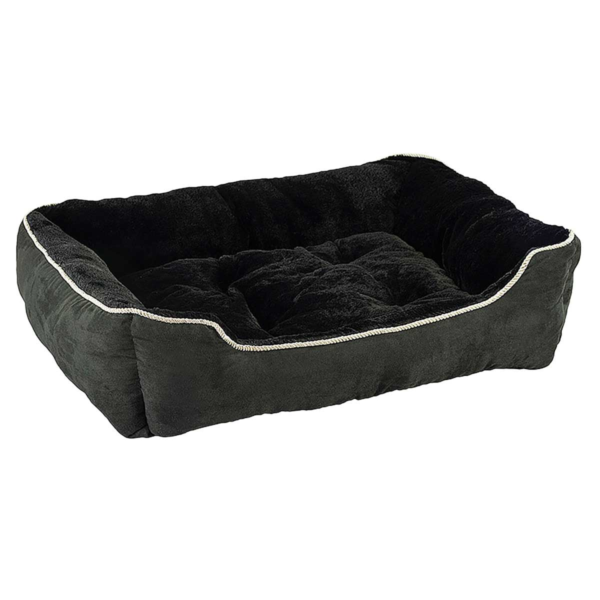 28 inch Sleep Zone Step-In Cuddler Slumber Pet Bed Faux Suede Black