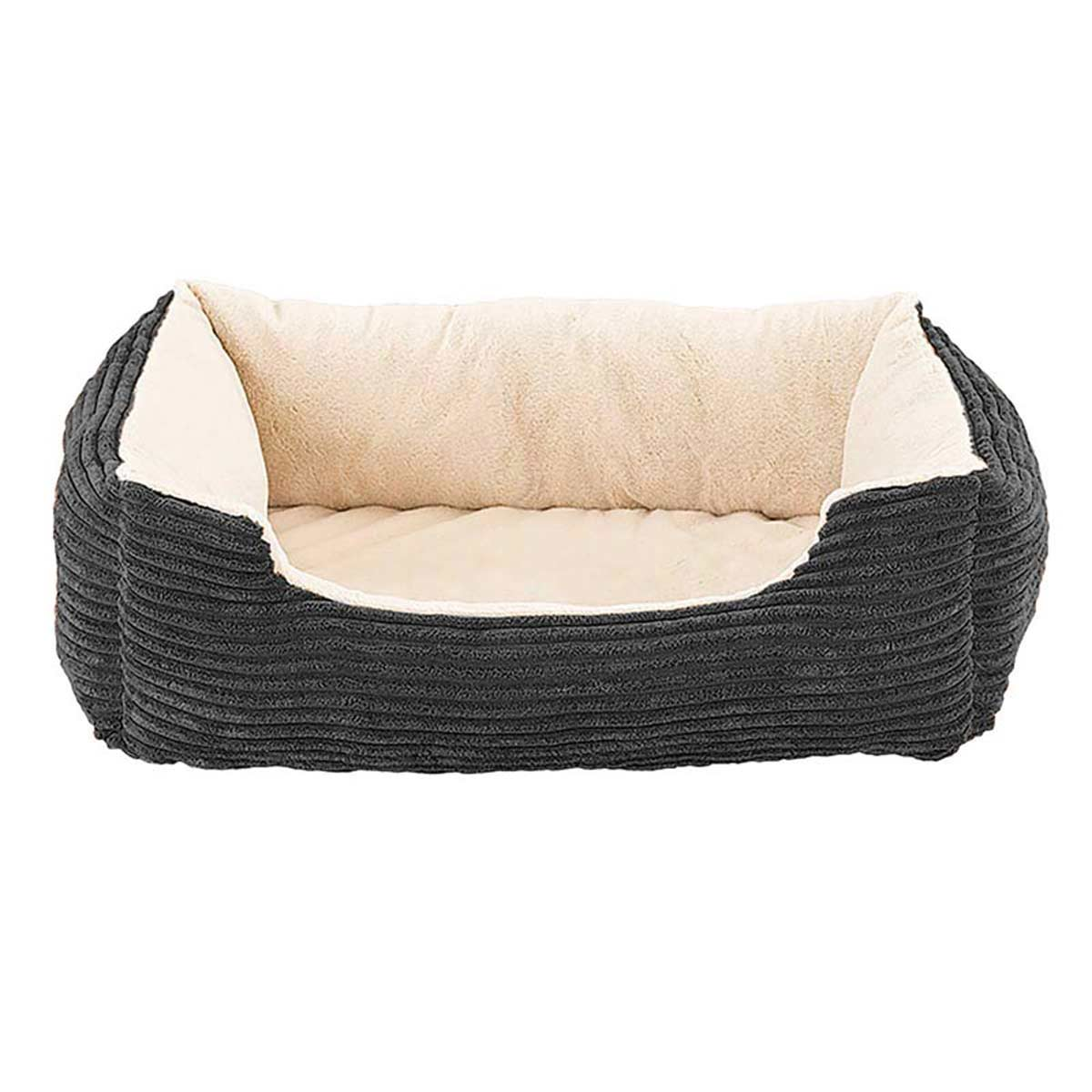 Sleep Zone Step-In Cuddler Corduroy Orthopedic Pet Bed Deep Grey