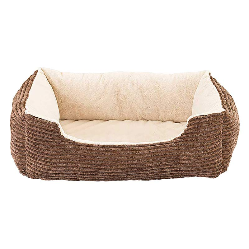 27 inch Sleep Zone Step-In Cuddler Corduroy Orthopedic Bed Tan and Chocolate