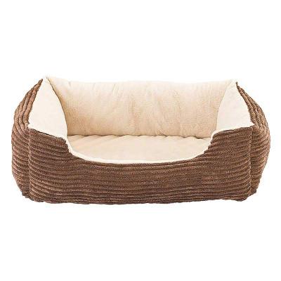27 inch Sleep Zone Step-In Cuddler Corduroy Orthopedic Bed Tan and Chocolate