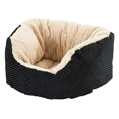 Sleep Zone Napper Bed Checkerboard Weave 18 inch Black and Tan
