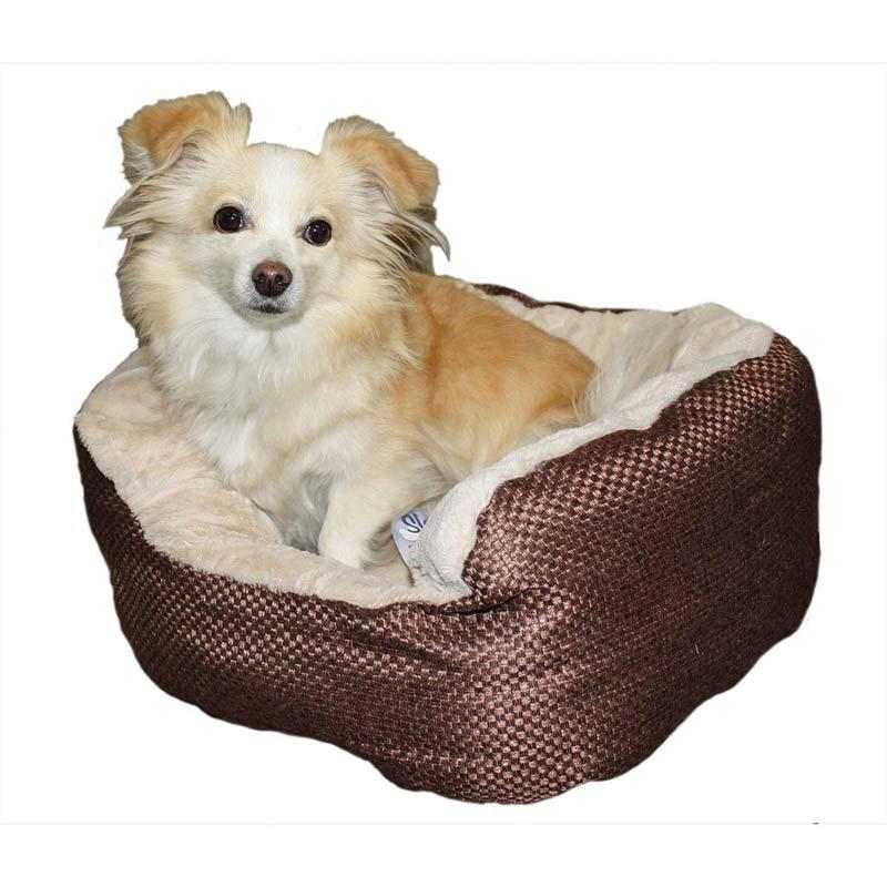 18 inch Sleep Zone Chocolate Napper Pet Bed Checkboard Weave