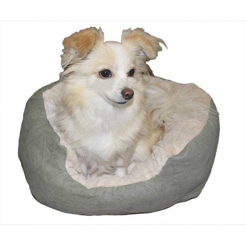 Dog laying in Sleep Zone Step-In Cuddlers Oval Bed Faux Suede Sage 21 inches