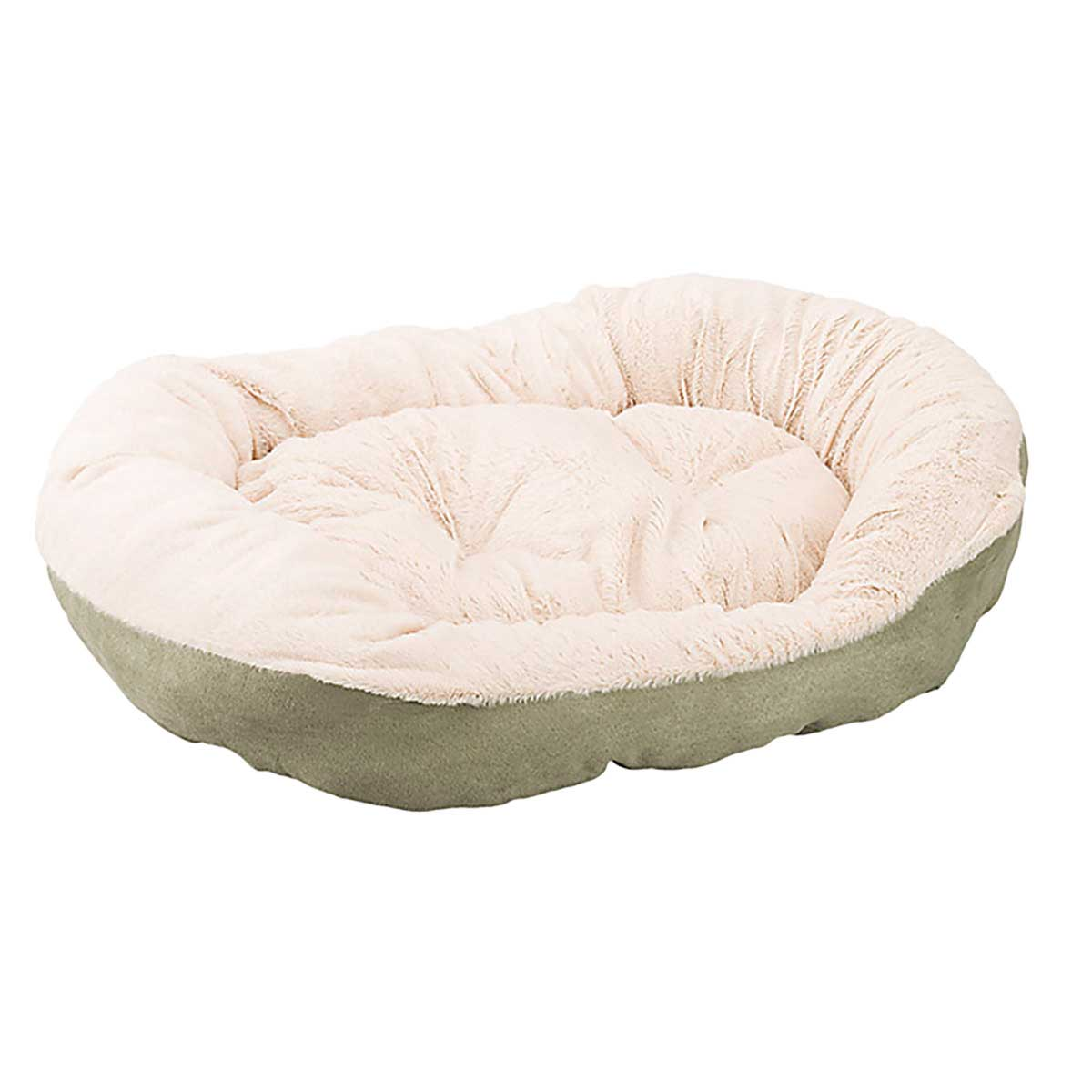 26 inch Sleep Zone Step-In Cuddlers Oval Bed Faux Suede Tan and Sage