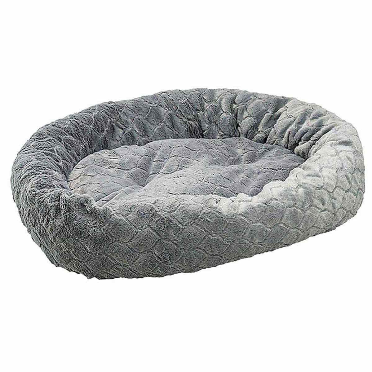 Sleep Zone Dark Grey Diamond Cut Lounger Oval Cuddler Bed for Pets - 31 inch