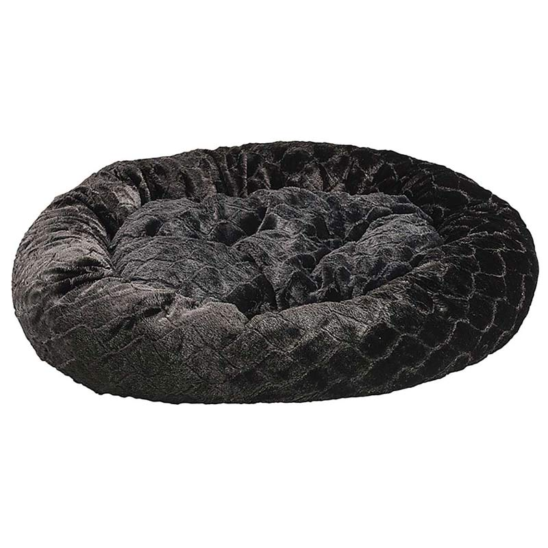31 inch Black Sleep Zone Lounger Oval Cuddler Pet Bed - Diamond Cut Design