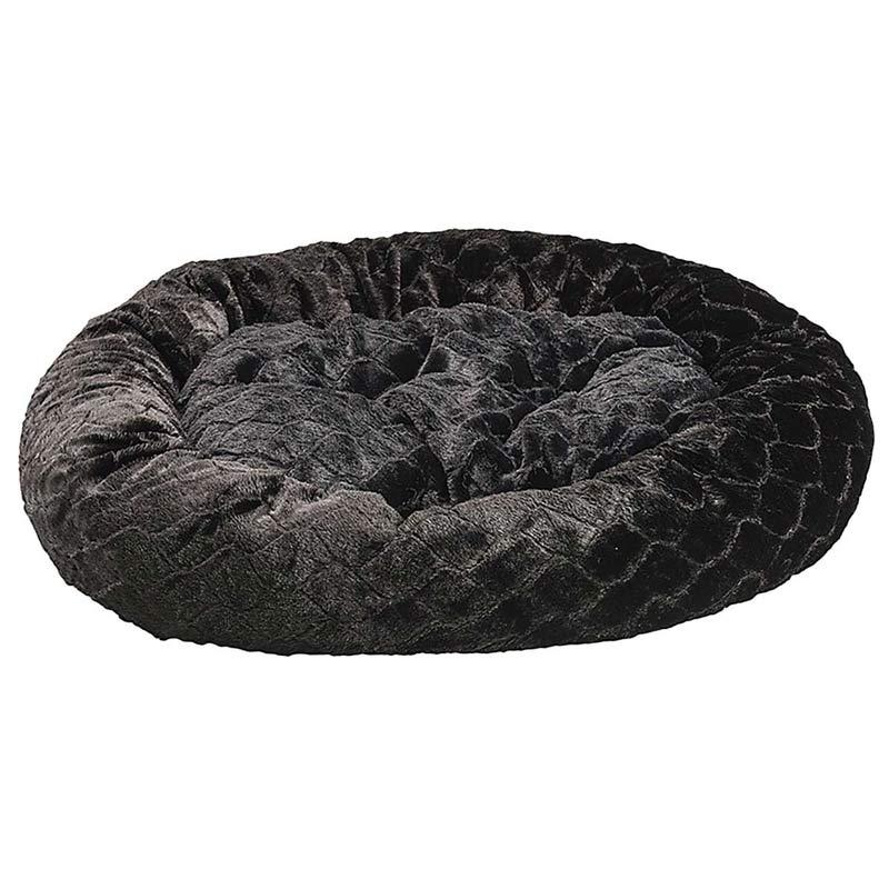 31 inch Black Sleep Zone Lounger Oval Cuddler Pet Bed - Diamond Cut Design