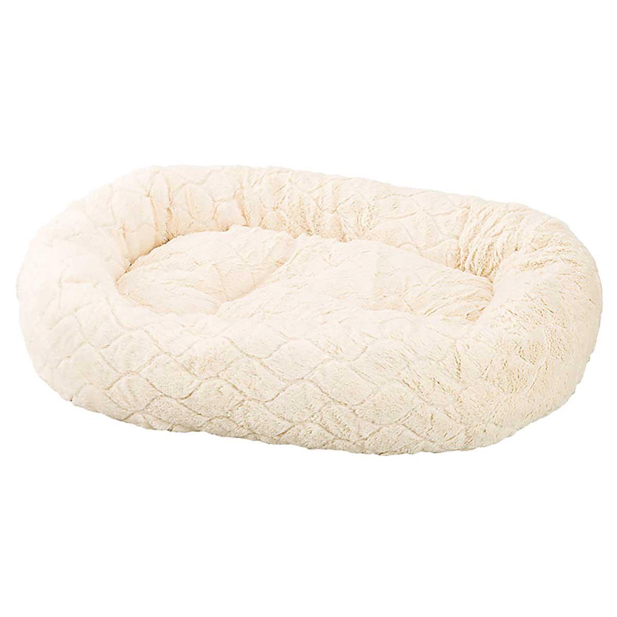 Diamond Cut Design 27 inch Cream Sleep Zone Lounger Oval Cuddler Bed for Pets
