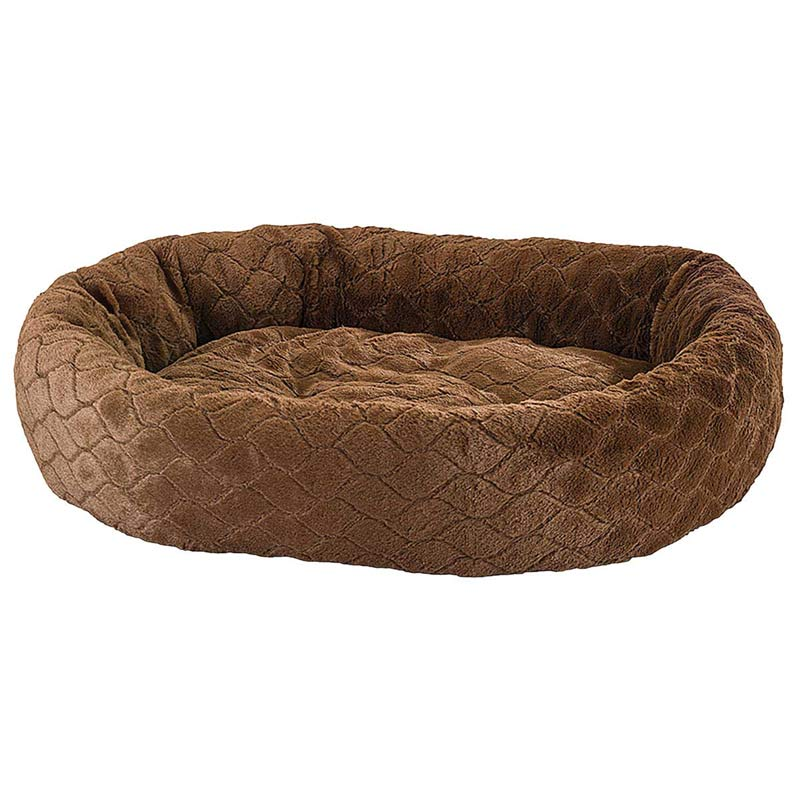 Chocolate Brown Sleep Zone Diamond Cut Lounger Oval Cuddler Bed 27 inch