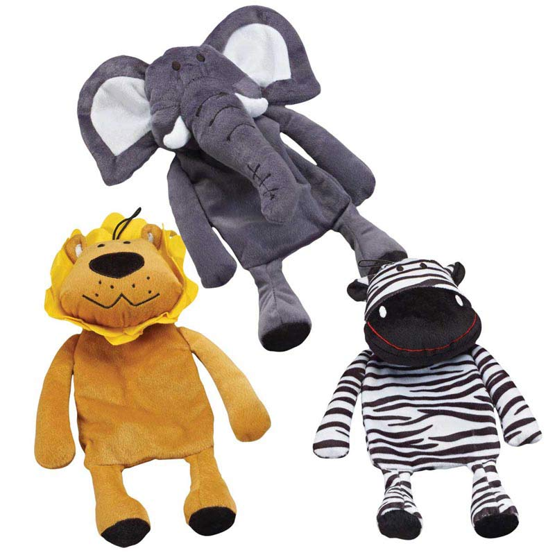 Crinkle Crew Dog Toys 14 inches long - Elephant, Lion or Zebra