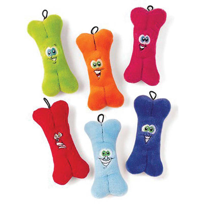 Plush Bones With Embroidered Face - 7 inches, Assorted Colors