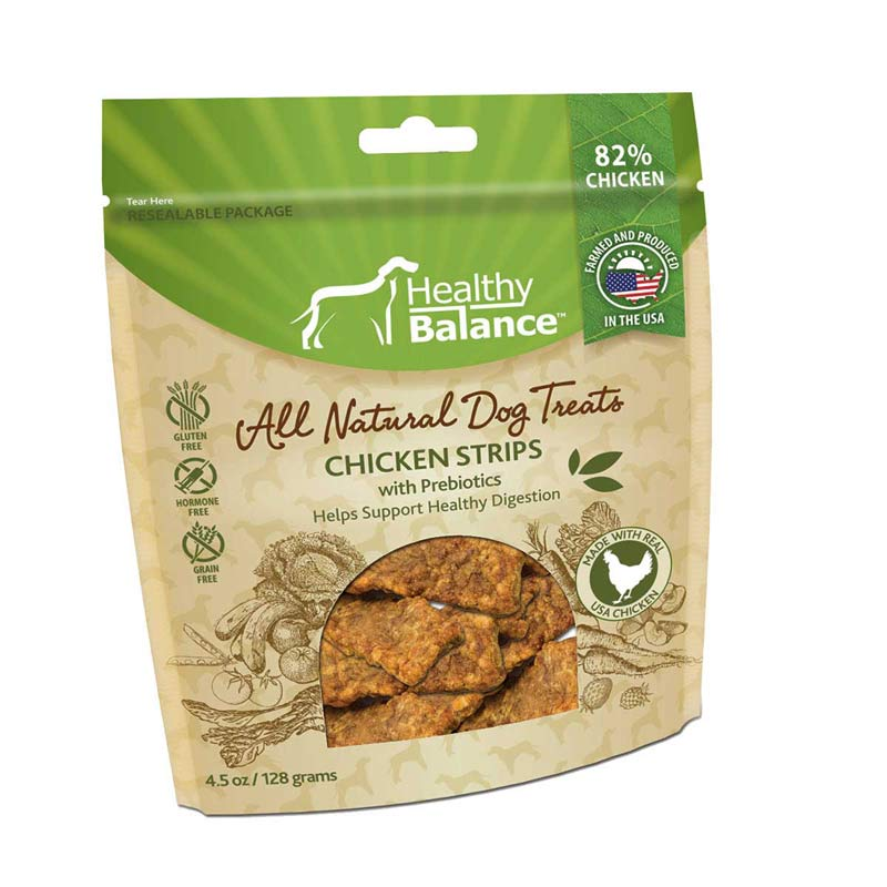 All Natural Healthy Balance Chicken Strips with Prebiotics for Healthy Digestion Dog Treats - 4.5 oz