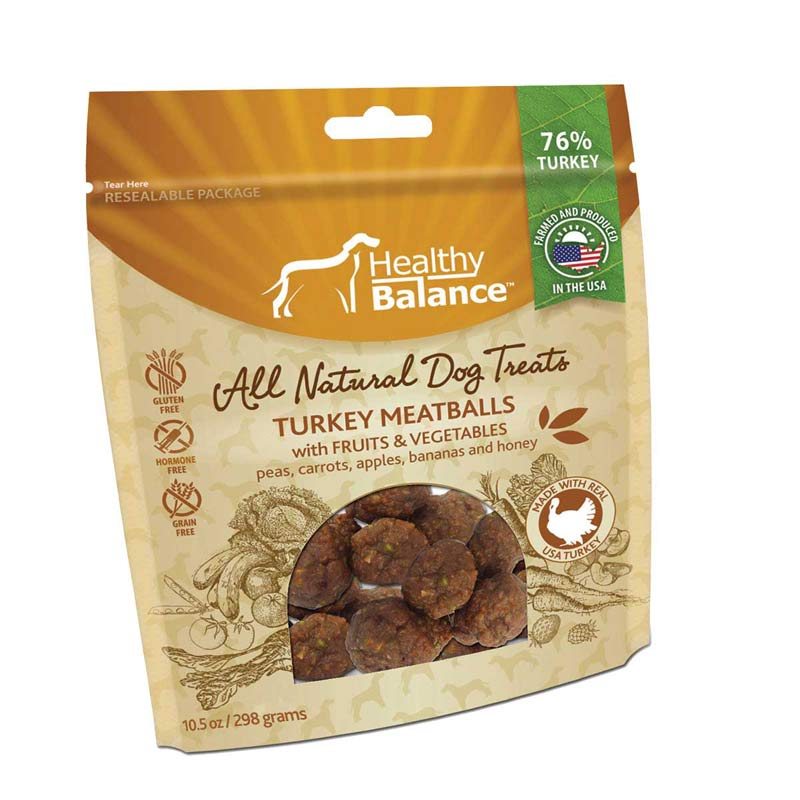10.5 oz Healthy Balance All Natural Dog Treats with Turkey Meatballs with Fruits