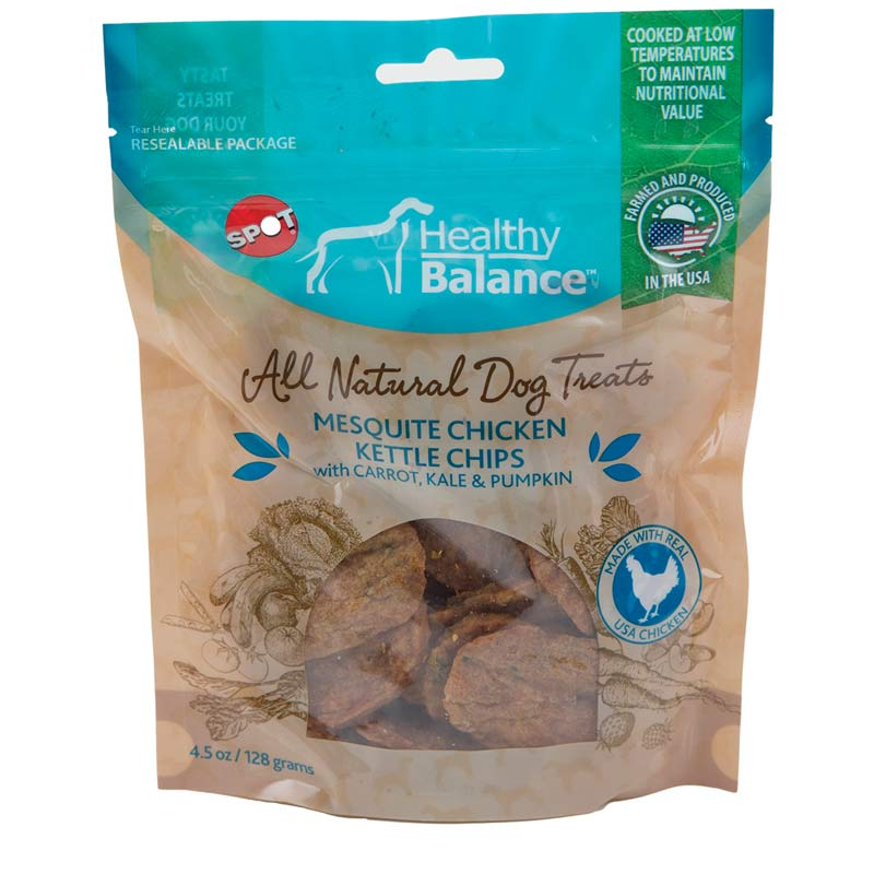 Healthy Balance All Natural Dog Treats Mesquite Chicken Kettle Chips with Carrot, Kale and Pumpkin 4.5 ounces