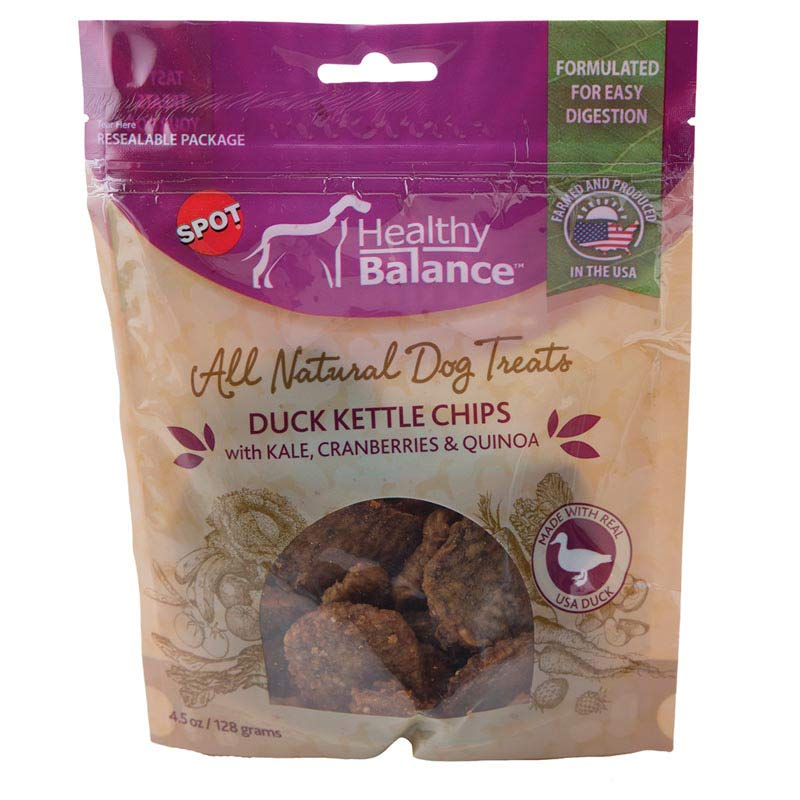 Ethical Pet Spot Healthy Balance Duck Kettle Chips with Cranberries and Quinoa - All Natural Dog Treats - 4.5 oz