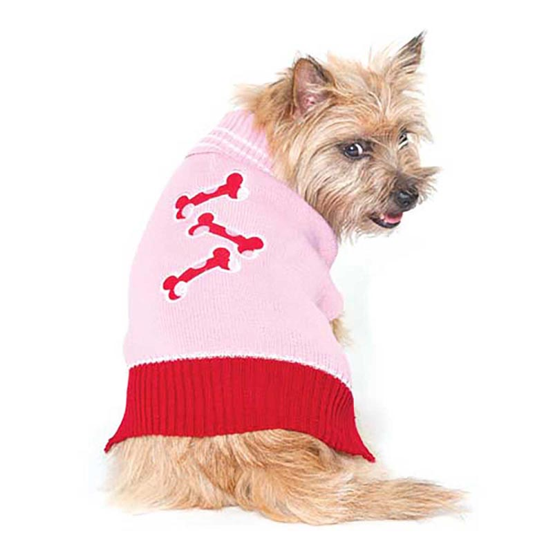 Pink and Red Bone Sweater for Dogs - Various Sizes