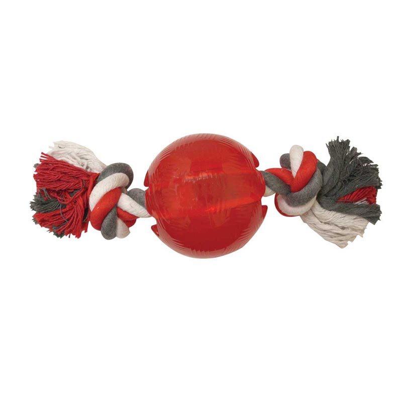 Play Strong Rubber Ball With Rope Medium Size - 3.75 inches