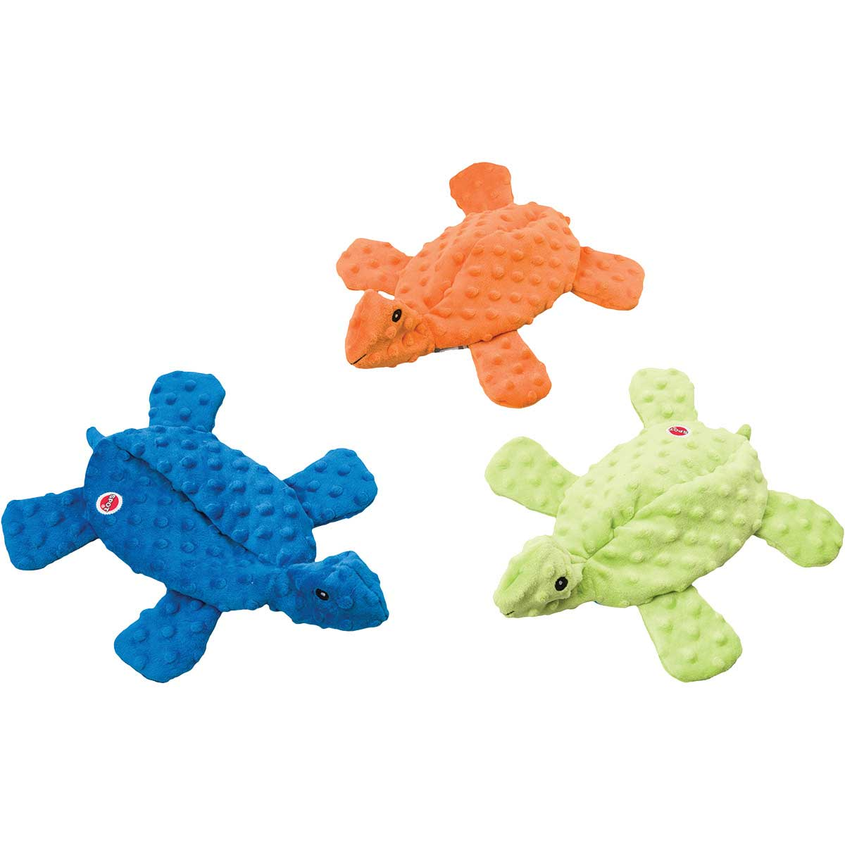 15 inch Skinneeez Extreme Turtle Dog Toy - Blue and Orange and Green