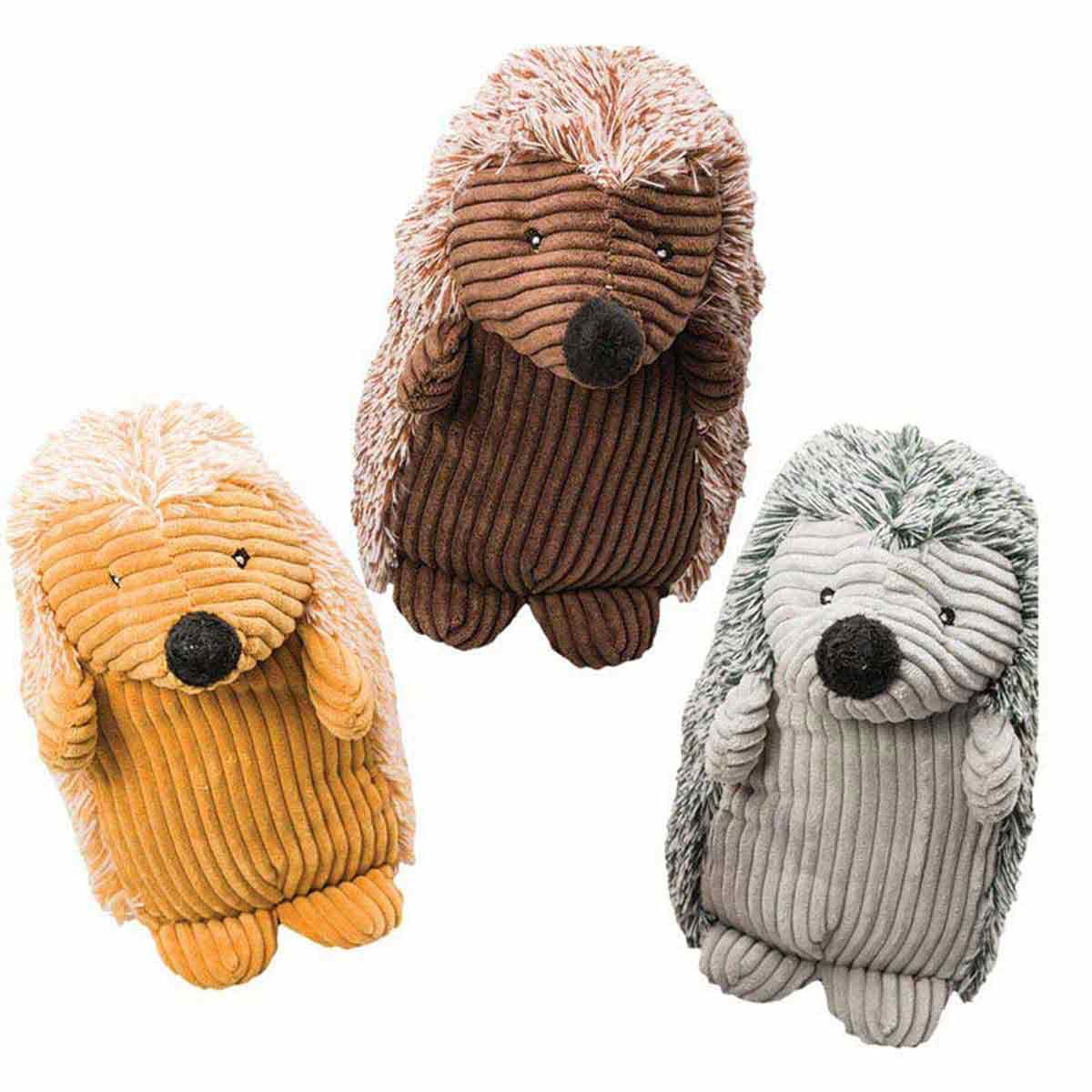 8 inch Spot Stuffed Corduroy Hedgehog Dog Toy - Brown, Gold or Gray