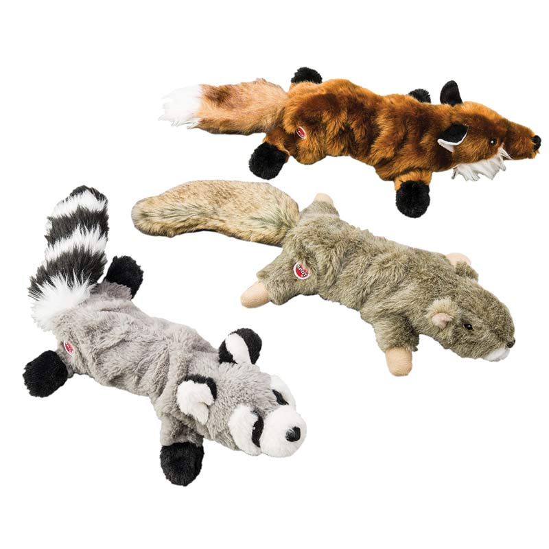 Assorted Stretch and Squeak Pals - Raccoon, Squirrel or Fox Dog Toys