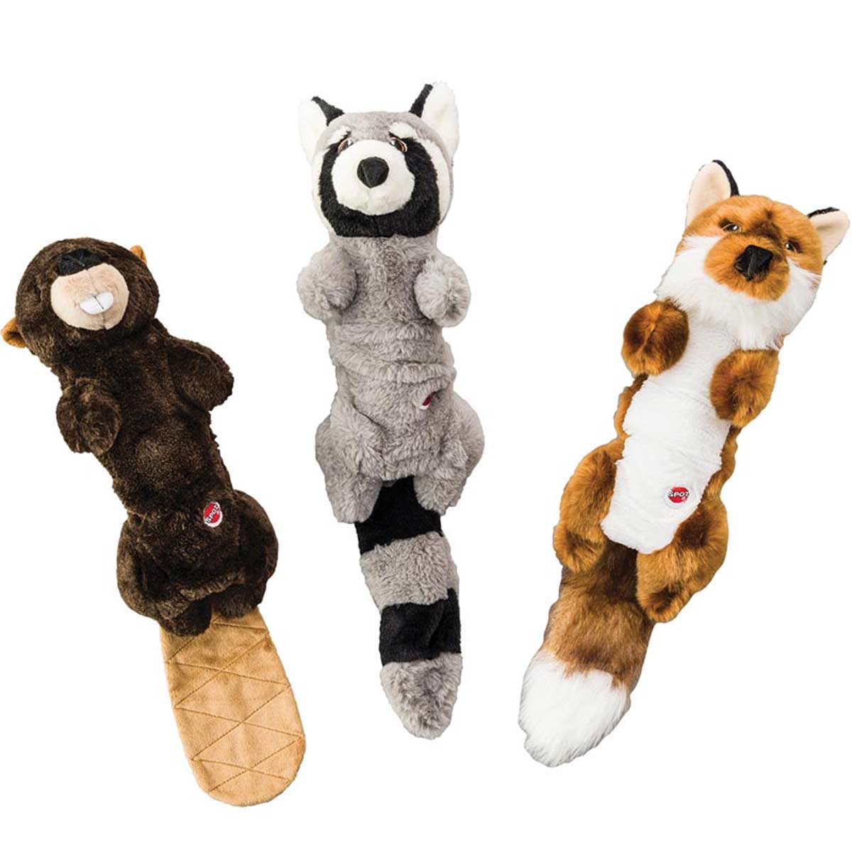 18 inch Dog Toys - Stretch and Squeak Buds Assorted - Beaver, Raccoon or Fox