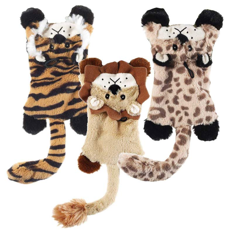 Skinneeez Flat Cats 14 inch Dog Toys - Leopard, Lion or Tiger