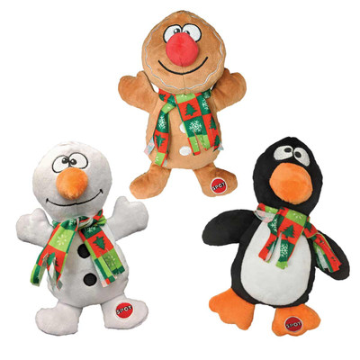 Assorted Holiday Trio Plush 9 inch Dog Toy