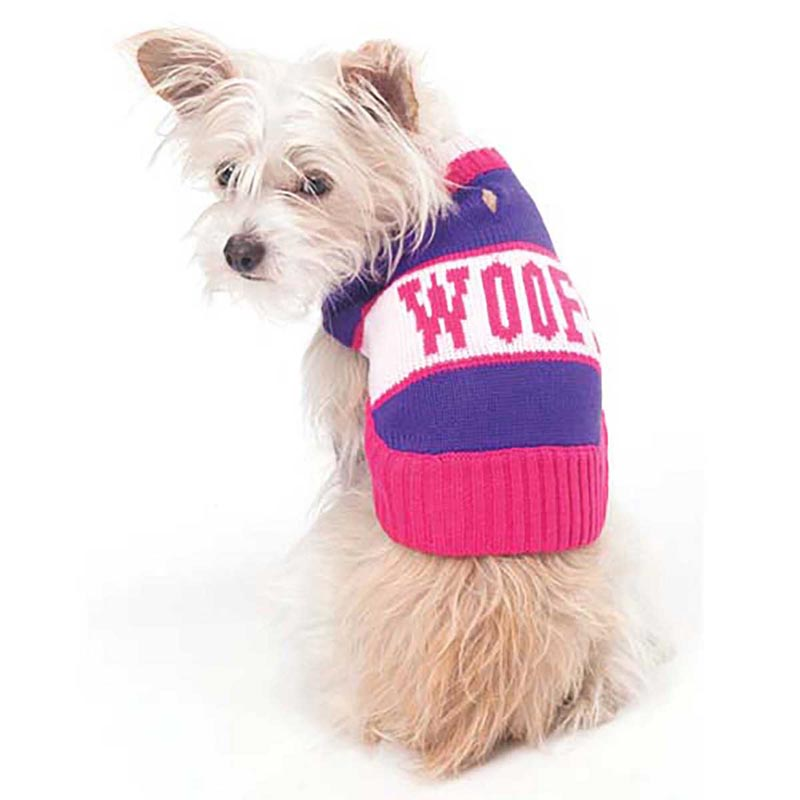 XS Purple and Pink Woof Sweater for Dogs