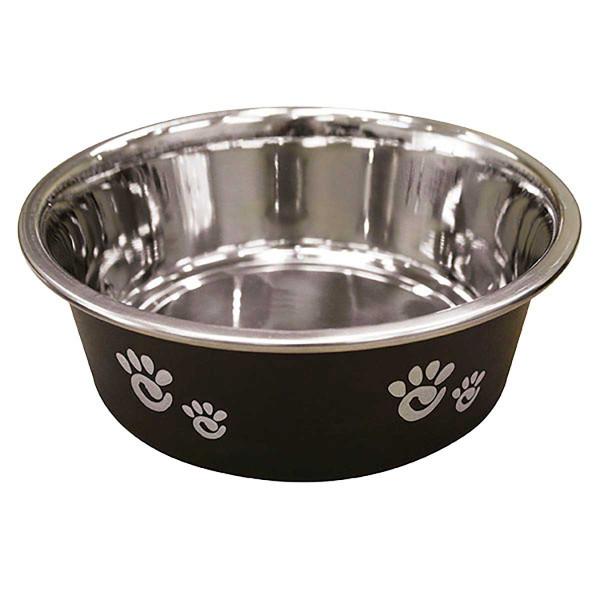 16 oz Barcelona Dog Bowl Matte Licorice/Black
