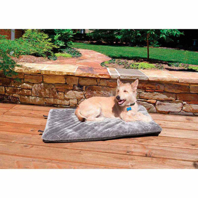 Silver Furhaven Nap Crate Orthopedic Mats - 22 inches by 35 inches by 2 inches