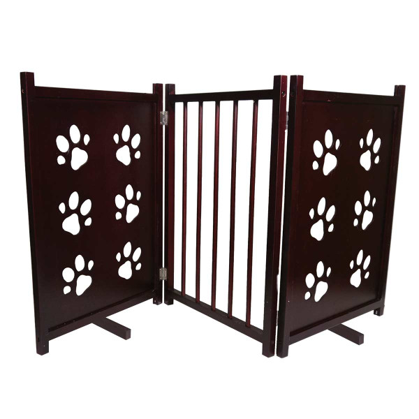 Wooden Furhaven Decor Dog Gates - Paw Print