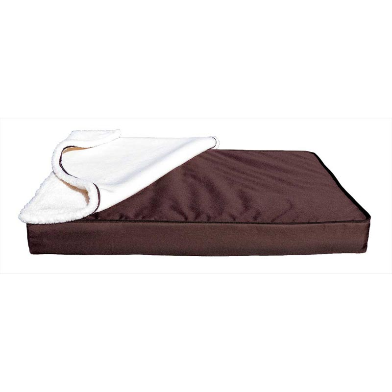 Brown Espresso Furhaven Indoor/Outdoor Nap Removable Sherpa Top Pillows for Dogs - 35 inches by 44 inches