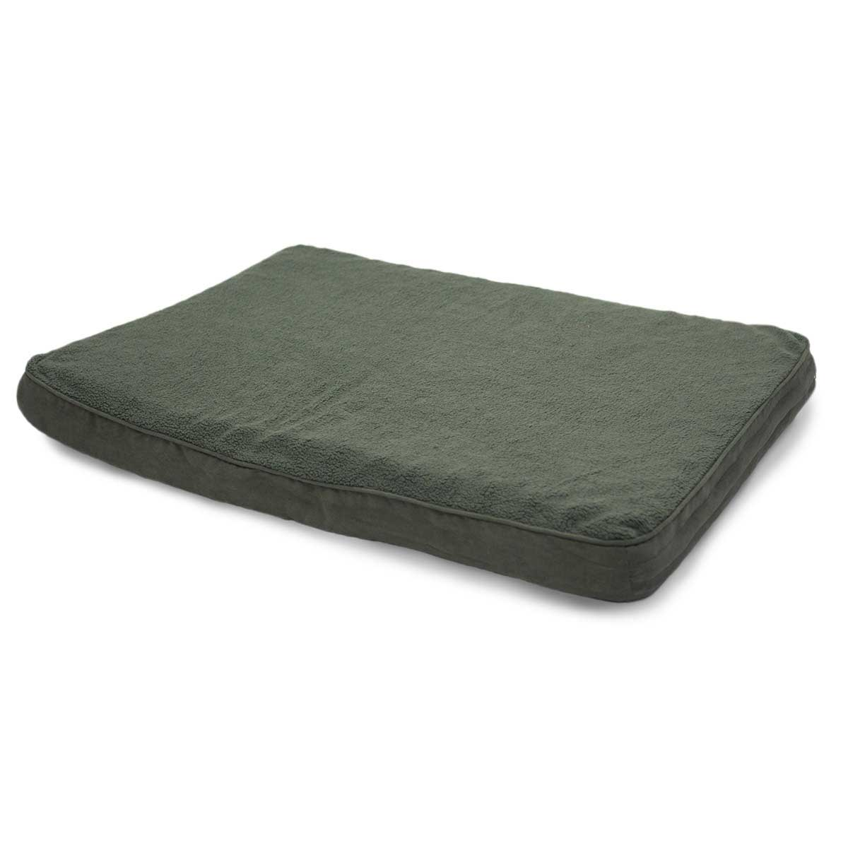 35 inches by 44 inches Furhaven Nap Snuggle Forest Green Terry & Suede Orthopedic Dog Mat