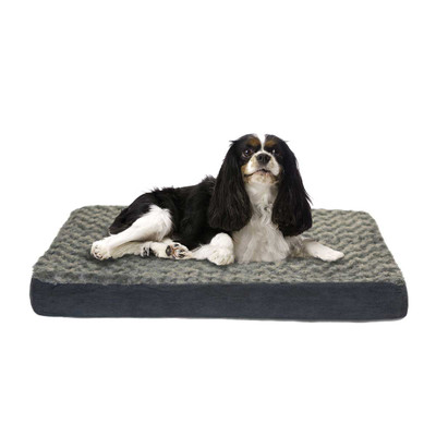 Gray Furhaven Nap Ultra Plush Deluxe With Memory Foam Orthopedic Dog Mats - 27 inches by 36 inches by 3 inches