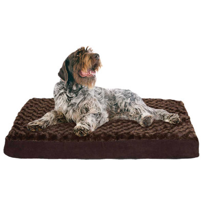 Chocolate Furhaven Nap Ultra Plush Deluxe Orthopedic Dog Mats With Memory Foam - 35 inches by 44 inches