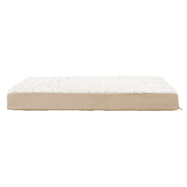 35 by 44 inches - FurHaven Cream NAP Ultra Plush Deluxe with Memory Foam Ortho Mat for Dogs