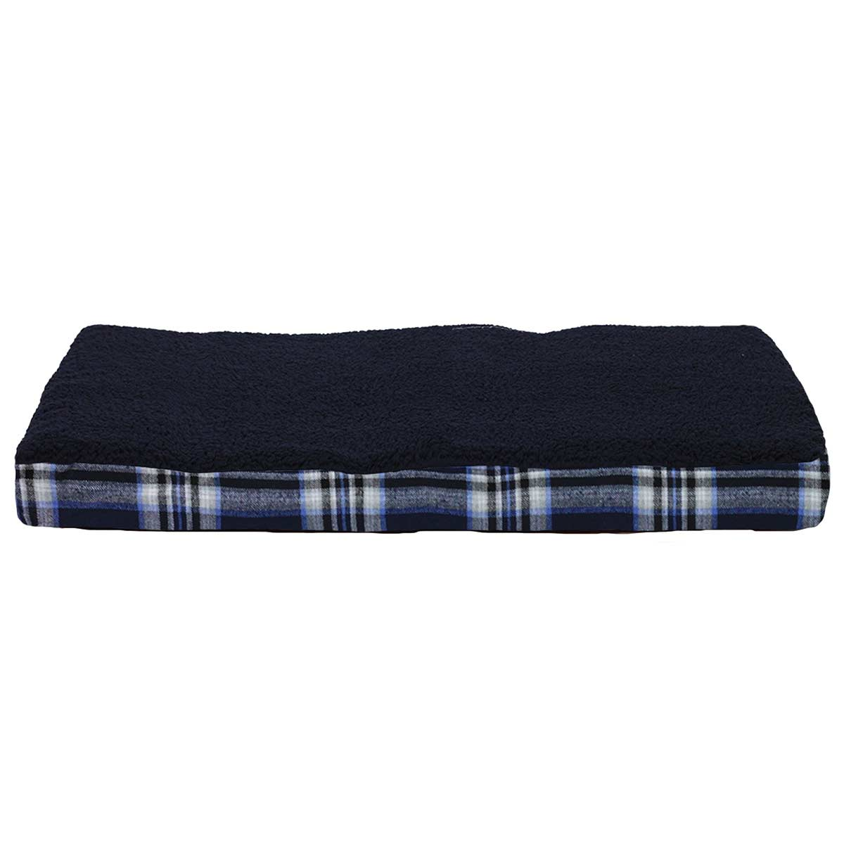 Black and Plaid FurHaven NAP Snuggle Terry Top Deluxe with Memory Foam Ortho Pet Bed