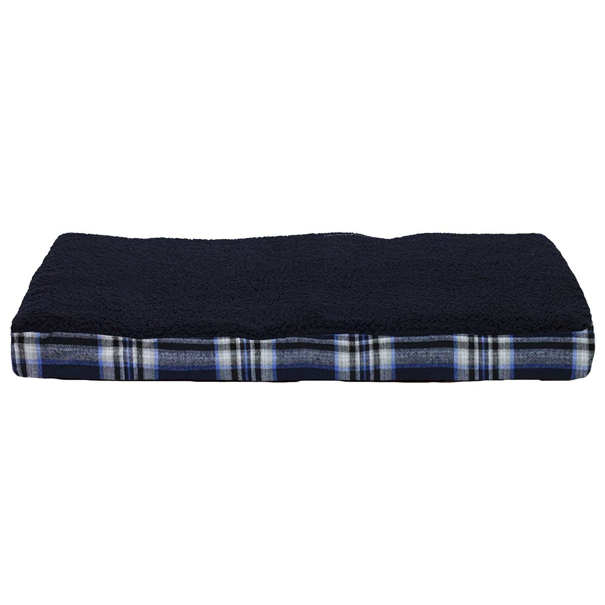 20 by 30 inches - FurHaven NAP Terry Top Deluxe Orthopedic Pet Bed with Memory Foam - Black and Plaid