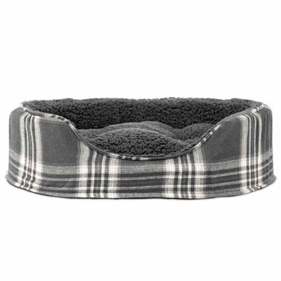 Gray Medium FurHaven Plaid Oval Terry Fleece Bed