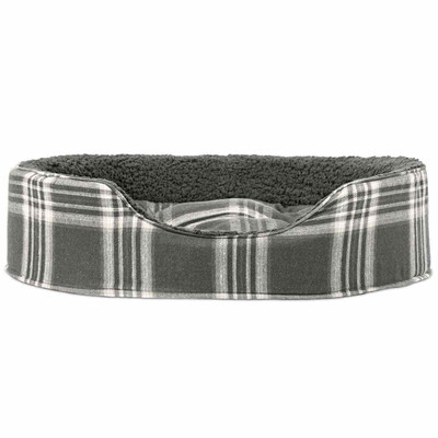 Gray Large FurHaven Plaid Oval Terry Fleece Bed