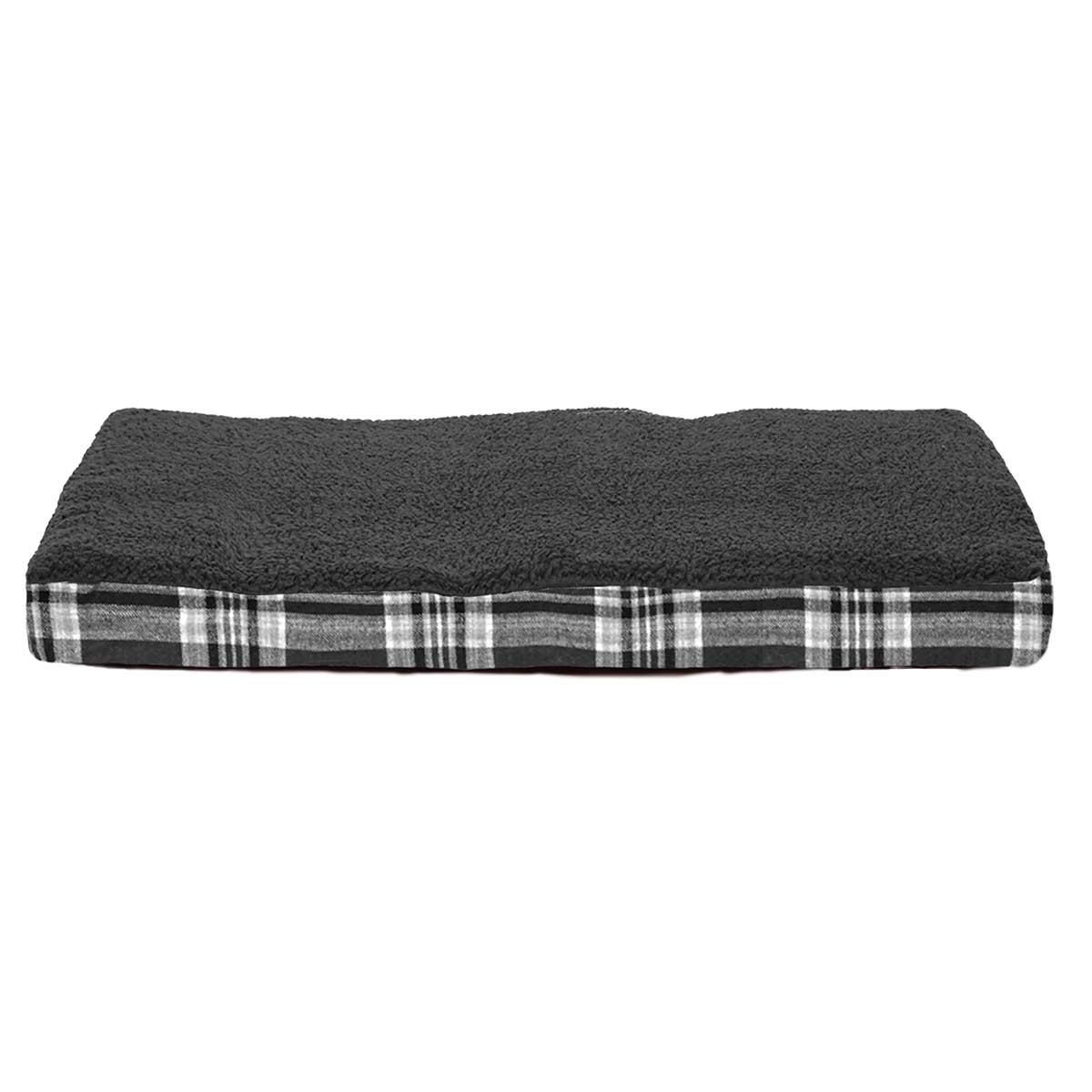15 by 20 inches - FurHaven NAP Snuggle Terry Top Deluxe with Memory Foam Ortho Pet Bed - Gray Flannel Plaid