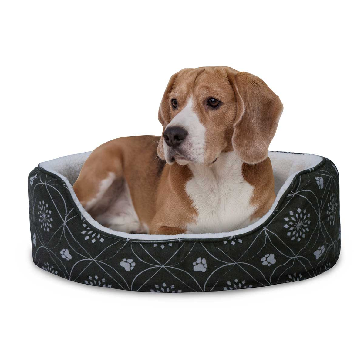 Dog in FurHaven Nap Paw Print Decor Flannel Oval Dark Espresso 21 inches by 26 inches